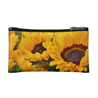 Beautiful Orange and Yellow Sunflower Painting Makeup Bag