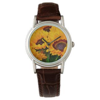 Beautiful Orange and Yellow Sunflower Painting Watch