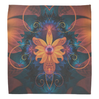 Beautiful Orange-Blue Fractal Angel Orchid Flower Bandana
