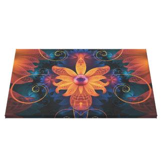 Beautiful Orange-Blue Fractal Angel Orchid Flower Canvas Print