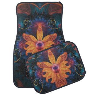 Beautiful Orange-Blue Fractal Angel Orchid Flower Car Mat