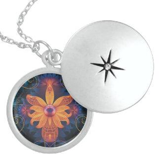 Beautiful Orange-Blue Fractal Angel Orchid Flower Locket Necklace