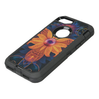 Beautiful Orange-Blue Fractal Angel Orchid Flower OtterBox Defender iPhone 8/7 Case