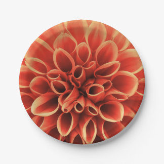 Beautiful Orange Dahlia Flower Paper Plate