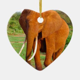Beautiful Orange Elephant Ceramic Heart Decoration