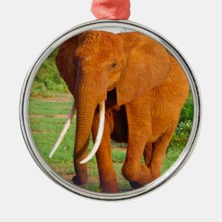Beautiful Orange Elephant Silver-Colored Round Decoration