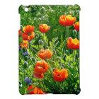 Beautiful orange poppy flower print iPad mini cover