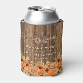Beautiful Orange Roses and Daisy Flowers on Wood Can Cooler