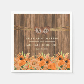 Beautiful Orange Roses and Daisy Flowers on Wood Disposable Serviettes