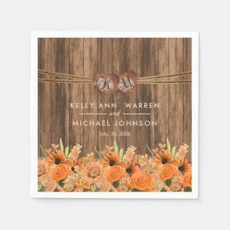 Beautiful Orange Roses and Daisy Flowers on Wood Paper Napkin