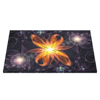 Beautiful Orange Star Lily Fractal Flower at Night Canvas Print