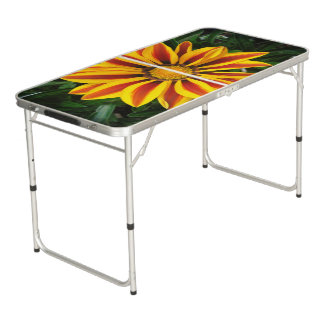 Beautiful Orange Sun Flower Photo Beer Pong Table