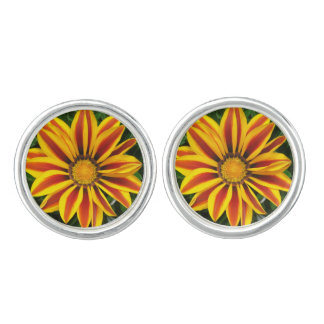 Beautiful Orange Sun Flower Photo Cuff Links