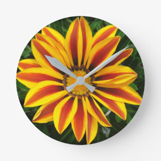 Beautiful Orange Sun Flower Photo Round Clock