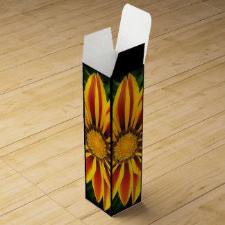 Beautiful Orange Sun Flower Photo Wine Gift Box