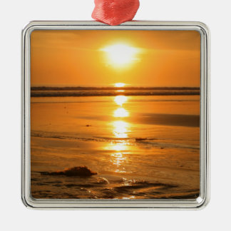 Beautiful orange sunset at the beach in Bali Silver-Colored Square Decoration