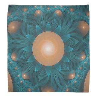 Beautiful Orange-Teal Fractal Lotus Lily Pad Pond. Bandana