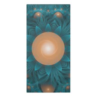 Beautiful Orange-Teal Fractal Lotus Lily Pad Pond. Door Sign