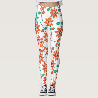 Beautiful Orange, White and Green Floral Leggings