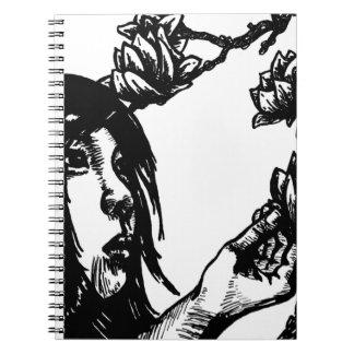 Beautiful Oriental Girl Picking Magnolia Flowers Spiral Notebooks
