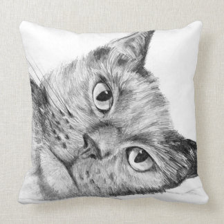 Beautiful original cat drawing throw cushion