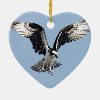 Beautiful Osprey bird Searching for prey Ceramic Heart Decoration