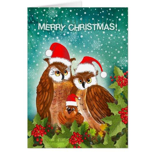 Beautiful owl family on Christmas! Card