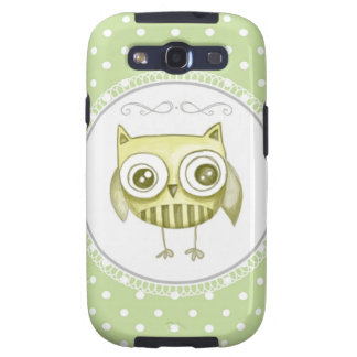 Beautiful Owl with Pastel Polka Dots Custom Teal Samsung Galaxy S3 Cover
