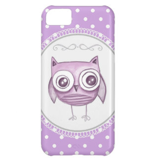 Beautiful Owl with Pastel Polka Dots Lavender iPhone 5C Covers
