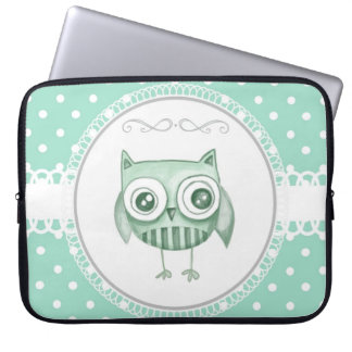 Beautiful Owl with Polka Dots in Teal Laptop Sleeve