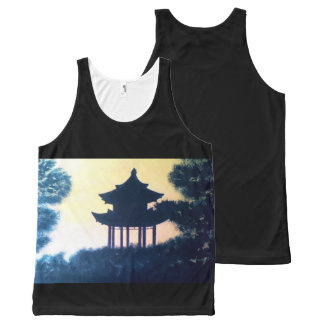 Beautiful Pagoda Silhouette Art Scenery Landscape All-Over Print Singlet