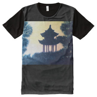 Beautiful Pagoda Silhouette Art Scenery Landscape All-Over Print T-Shirt
