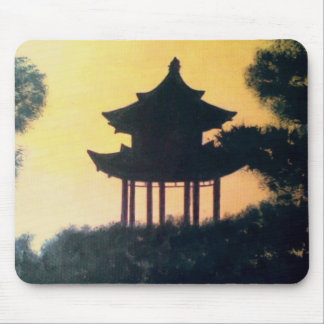 Beautiful Pagoda Silhouette Art Sunset Landscape Mouse Pad