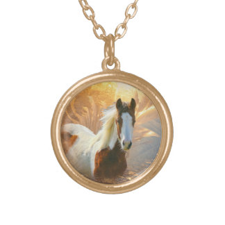 Beautiful Paint Horse Gold Necklace