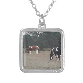 Beautiful Paint Horses Silver Plated Necklace