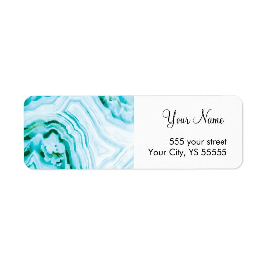 Beautiful Painted Blue Agate Geode Pattern Return Address Label