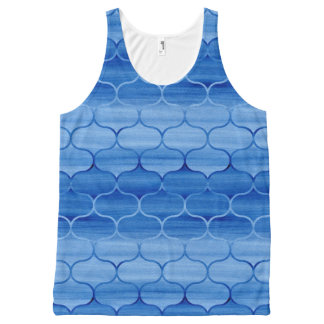 Beautiful Painted Blue Ogee Pattern All-Over Print Singlet