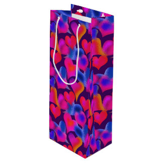 Beautiful Painted Hearts | Valentine's Day Wine Gift Bag