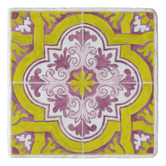 Beautiful Painted Portuguese Tile Marble Trivet