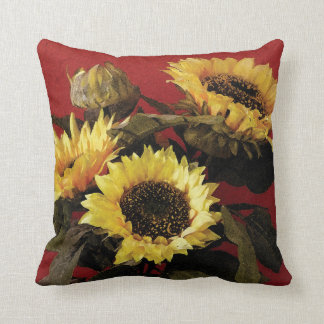 Beautiful painted sunflower cushion