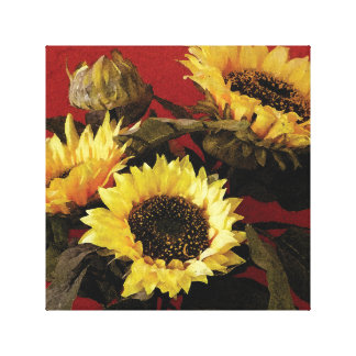 Beautiful, painted sunflowers canvas print