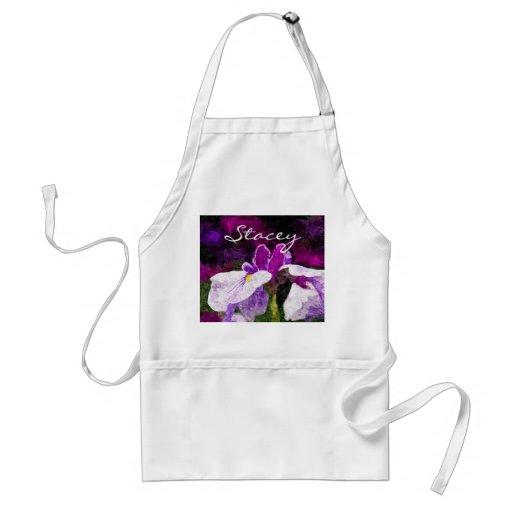 Beautiful Painterly Iris Flower Purple Violet Pink Aprons