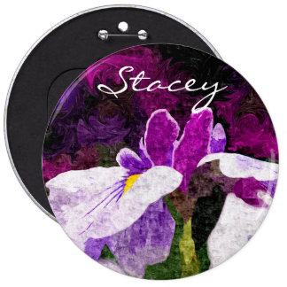 Beautiful Painterly Iris Flower Purple Violet Pink Pin