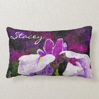 Beautiful Painterly Iris Flower Purple Violet Pink Lumbar Pillow