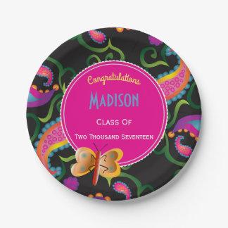 Beautiful Paisley Personalized Graduation Paper Plate