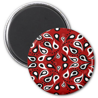 Beautiful Paisley white black and red pattern 6 Cm Round Magnet