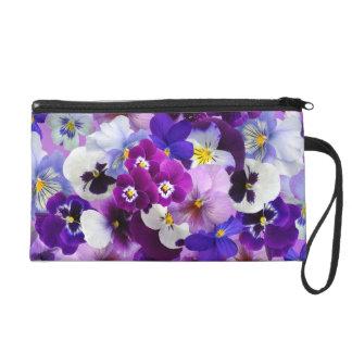 Beautiful Pansies Spring Flowers Wristlet
