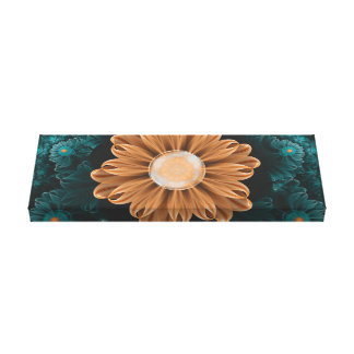 Beautiful Paradise Chrysanthemum of Orange & Aqua Canvas Print