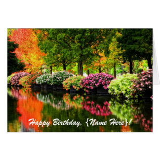 Beautiful Park Autumn Trees Colourful Flowers Pond Card