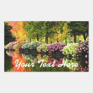 Beautiful Park Colourful Flowers Autumn Trees Pond Rectangular Sticker
